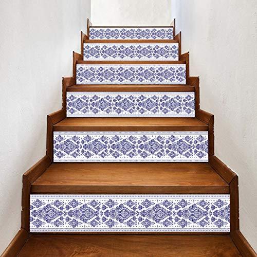 RENZHAO Treppenaufkleber 13 Stück 3D Fliesen Blau Und Weiß Porzellan Wandaufkleber DIY Selbstklebende wasserdichte Treppe Dekorative Aufkleber 18 * 100cm -