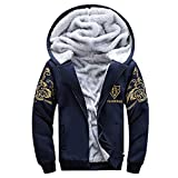 Men's Jumpers, Autumn Winter Clothing, Mens Hoodie Winter Warm Fleece Zipper Sweater Jacket Outwear Coat Top Pants Sets(Dark Blue, L)