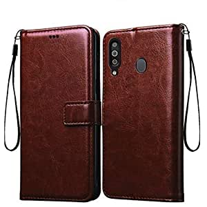 Bracevor Flip Cover for Samsung Galaxy M30 Leather Case | Foldable Stand | Inner TPU | Wallet Card Slots - Executive Brown