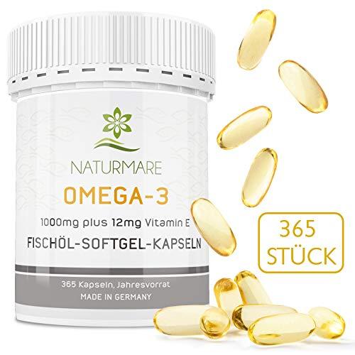 Omega 3 Fischölkapseln hochdosiert 1000mg von Naturmare, 365 Fischöl Kapseln (Jahresvorrat) - 100{1c416749f405dfa5867d7e18e8510e50f6ac2191ac5c10ea8556f415d6a9c6f3} GELD-ZURÜCK-GARANTIE, Maximale Aufnahmefähigkeit, hergestellt in Deutschland
