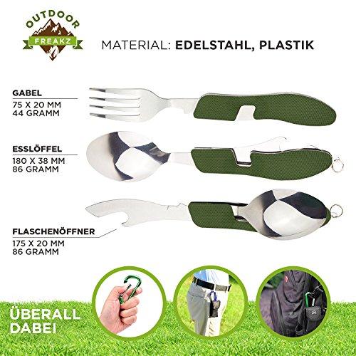 OUTDOOR FREAKZ Outdoor Campingbesteck Klapp-Besteck aus Edelstahl mit Gürteltasche, das Original! (grün +) - 3