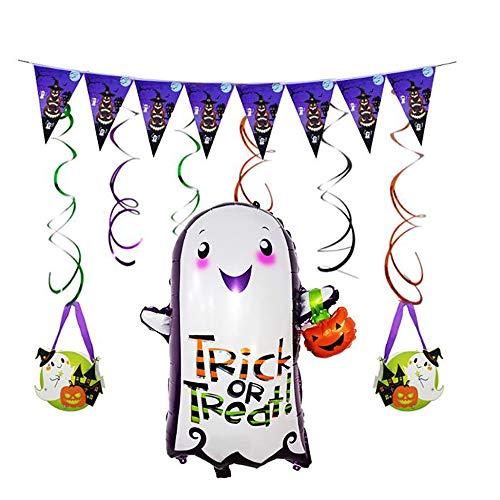 JLCP Halloween Kid Laterne Ballon Combo Bunting Spiral Pendant Ballons Festliche Feier Party Liefert Dekoration Requisiten Indoor Outdoor (Halloween-laternen Kids Für)