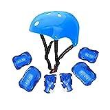 Honey Schutzausrüstung Kindersicherheit Schutzausrüstung Set Roller Skating Skateboard Skate 7 Sets (Farbe : Blau)