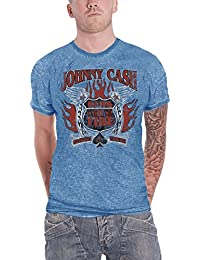 Johnny Cash T Shirt Distressed Ring Of Fire Logo Official Mens Blue Burnout