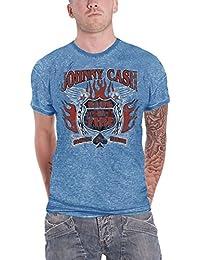 Johnny Cash T Shirt Distressed Ring of Fire Logo offiziell Herren Nue Blau