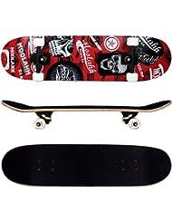 FunTomia® Skateboard FunTomia con rodamientos ABEC-11 y rodillos de dureza 92A - hecho con 9 capas de madera de arce