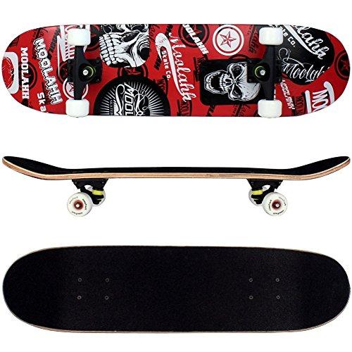 FunTomia® Skateboard mit ABEC-11 Kugellager Rollenhärte 92A und 9-lagigem Ahornholz (Rot Totenkopf)