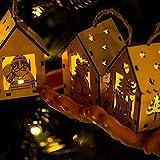 Longra Ornamenti Per Alberi Di Natale Palline Casa In Legno Con Luci Ciondolo Decorazione Natalizia Pupazzo Di Neve Babbo Natale Alce, 6.5x8 cm