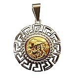 Schön Anhänger Nachbildung der griechischen Göttin Athene, Hellenischer Fries Stahl poliert Farbtöne gold und silber