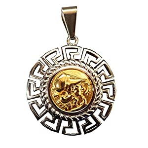 Schöne Anhänger Replik Stück griechische Göttin Athena Friesland Hellenic poliert Stahl Gold und Silber Ton