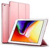 ESR Funda Nuevo iPad 2017 con Auto-Desbloquear y Función de Soporte [Ligera] de Cuero Sintético y Plástico Duro Transparente Esmerilado Cover Cáscara para Apple New iPad 2017 de 9.7 pulgadas -Rosa