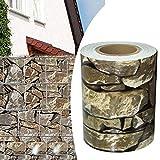Alaskaprint Stein-Optik PVC Sichtschutzstreifen Sichtschutz Gartenzaun Sichtschutzfolie Zaunfolie Zaunstreifen für doppelstabmatten Zaun 70 Meter x 19CM