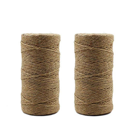 Ulable 2PCS 3 Ply natürliche Jute Twine Thick Art Twine robuste Jute Seil für Gartenarbeit, Geschenke, DIY Arts & Crafts, Vintage Tags (braun, 100 Yard / Roll) -