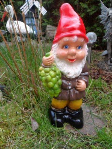 Gartenzwerg mit Trauben 36 cm aus bruchfestem PVC Zwerg - Made in Germany Figur