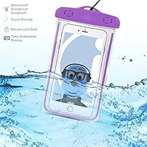 Dell Venue Pro Purple TRANSPARENT Underwater Protection Touch Responsive Dry Bag Case Cover for Dell Venue Pro