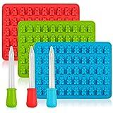 Fanaticism 3er Silikon Gummibärchen Schokoladenform für 53 Pralinen oder Bonbons + Tropfer Pipette, blau, rot, grün