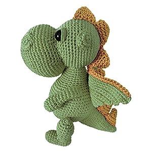 LOOP BABY - gehäkelter grüner Drache Daniel - Kuscheltier Drache aus Bio-Baumwolle - Dino grün - personalisiertes Stofftier