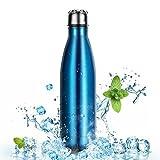 500ml Botella de Agua de Acero Inoxidable para Mantener sus Bebidas Calientes y Frías, OMorc Deportiva Botella Térmica libre de BPA, a Hacer Deporte,
