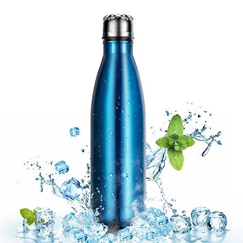 500ml/17oz Botella para Agua Deportiva de Acero Inoxidable para Mantener sus Bebidas Caliente y Fría, OMorc Reutilizable Portátil Doble Pared Aislada al Vacío Botella Térmica Perfecto para Deportes al Aire Libre Camping Senderismo Ciclismo, Con un Cepillo de Limpieza-Azul