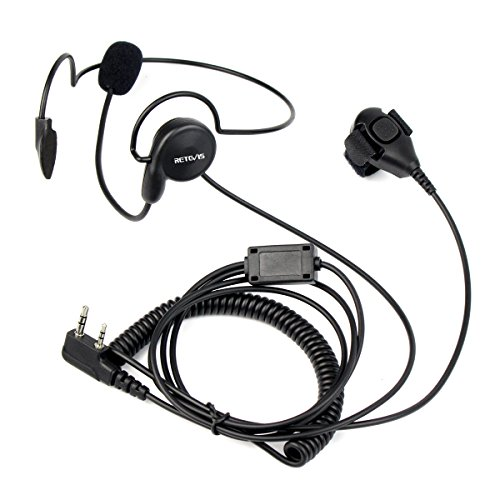 Retevis Cuffie Walkie Talkie 2 Pin Auricolare Dito PTT Microfono Headset  Compatibile con Ricetrasmettitore RT24 RT22 RT27 RT3S RT5 RT5R Kenwood