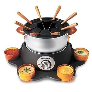 Lagrange 349002 fondue deluxe poign es bois plateau - Plateau tournant pour placard cuisine ...