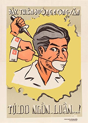 Anti-Kommunistischen Süd Vietnam Vintage Propaganda Tooth A Kommunistischen Himmel. Freie SPEECH c1951 250gsm ART glänzend A3 Reproduktion