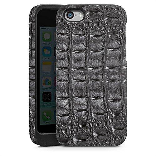 Apple iPhone 5 Housse Étui Silicone Coque Protection Look peau de crocodile Crocodile Motif Cas Tough brillant