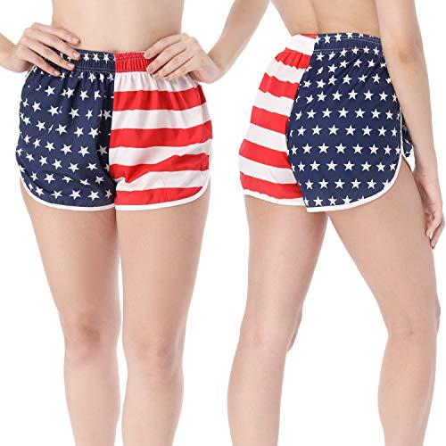 2 Pièces Shorts avec Drapeau Américain Short à Fente Latérale Maillots de Bain Shorts de Course Shorts de Plage pour Femmes