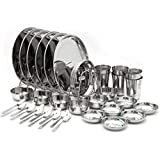 Coconut Complete Dinner Set/Table Ware Set Family Set Of 42 Pc Of Vessel For 6 Pax/ Member ( Pack Contains P3 Kanchan Bogi Size 12 - 6 Pc, P3 Kanchan Bogi Size 8 - 6 Pc, B2 Water Glass (200 ML Approx) 6 Pc, C9 Mukta Vati Size 6 - 6 Pc, H1 Halwa Plate Size