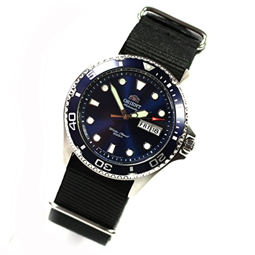 Orient Ray II Deep blue men's watch, automatic diver's watch, Nato strap