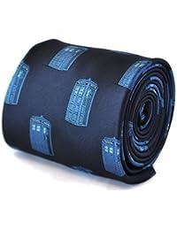 Frederick Thomas navy blue tie with Dr Who blue policeman tardis box