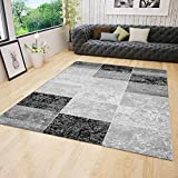 VIMODA Designer Teppich Modern Kariert, Marmor Muster, Meliert in Grau Schwarz Weiss - ÖKO TEX Zertifiziert, Maße:200x290 cm