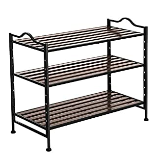 SONGMICS 3-Tier Slat Shoe Rack, Stackable and Expandable with Adjustable Shelves, Hallway Shoe Storage Organiser with Metal Frame, 68.5 x 31 x 56 cm (W x D x H) LMR13BX