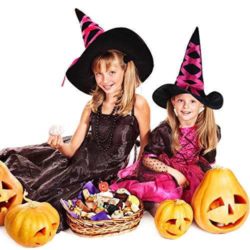 Outgeek cappello strega, cappello a punta di halloween in maschera costume partito cosplay cappellini berretto da mago strega per halloween