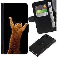 LASTONE PHONE CASE / Lujo Billetera de Cuero Caso del tirón Titular de la tarjeta Flip Carcasa Funda para Apple Iphone 6 4.7 / Garfield Ginger Playing Cat Jump Red