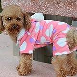 Macxy - 1pc Rosa Liebes-Herz Kleine Hunde-Bekleidung Weichen Winter Hund Vier Beine Jumpsuits Pyjamas Ropa Perro Coat [S]