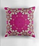 Hiaopp Hippie Chic Bohemian Indischen Muster Muscheln, Pink Fuchsia Mandala Quadratisch Dekorativer Überwurf-Kissenbezug 45,7x 45,7cm