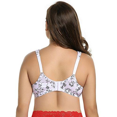 KissLace Damen Komfort BH Blumenmulster Große Größen Ohne Bügel Für Alltag Schlaf Weiß mit schwarzen Blumen