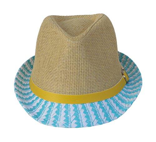 Bigood Panama Enfant Paille Faux Cuir Chapeau Fedora Jazz Protection Soleil Déguisement Cérémonie Bleu Kaki