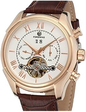 Forsining Herren Automatik Uhr Selbstaufzug Tag Kalender Business Marken Lederband Armbanduhr fsg583 m3r2
