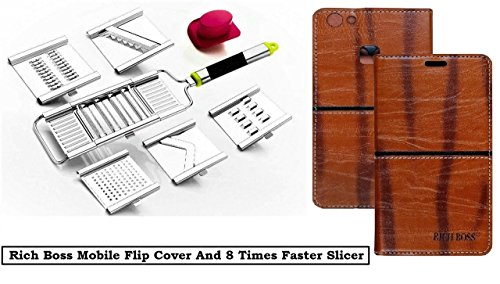 KTC Plus_8 Times Faster Adjustable Stainless Steel Multipurpose Slicer with French Fries Cutter and Brown Premium Quality Leather Rich Boss Flip Cover Case for Xiaomi Redmi Note 4/Mi Note 4