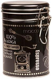 avec couvercle à clip–Boîte à café arabica–boîte de rangement boîte à café/thé/Cuisine/rond–Noir