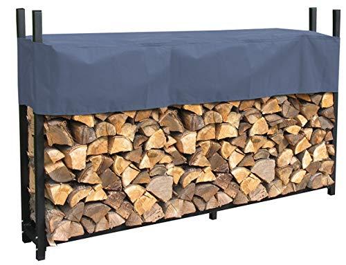 QUICK STAR Metall Kaminholzregal Anthrazit 200 x 25 x 115 cm Garten Kaminholzunterstand 0,8 m³ / 1 SRM Stapelhilfe Aussen mit Schutzhülle Grau