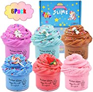 HUNDUN 6 Pack Butter Slime Kit, with Blue Color Slime, Coffee Slime, Watermelon Slime and Unicorn Slime, Super