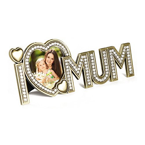 Fotorahmen & Herz Bilderrahmen in Herzform – Foto Herzbilderrahmen als ideales Geschenk für Mama zum Muttertag (Gold-herz-bilderrahmen)