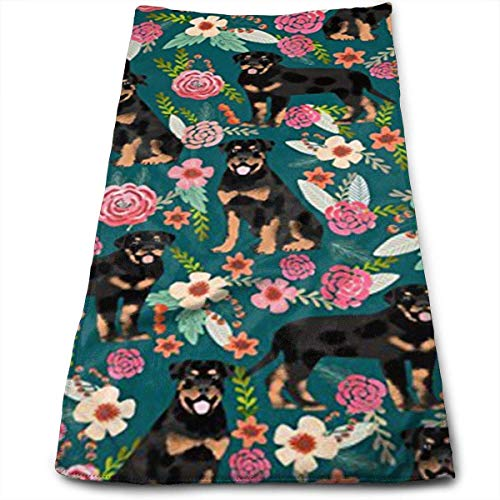 Rottweiler Floral Dog Multi-Purpose Microfiber Towel Ultra Compact Super Absorbent and Fast Drying Sports Towel Travel Towel Hair Beach Towel -