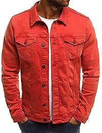 1b98de573bf3 Rera Homme Veste Jeans Coupe Slim Court Loisir Couleur Unie Simple Manteau  Jacket Denim Décontracté Simple