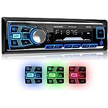 XOMAX XM-RSU254BT Autoradio DIN 1 (single DIN) Tamaño de montaje estándar + MOSFET + AUX-IN + 3 ajustables colores de iluminación: azul, rojo, verde + WMA + MP3 + sin discos CD + USB y Micro SD (128 GB por Medio) + Bluetooth manos libres y música + ISO + antena de radio