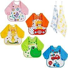 Lictin 5 pzas babero con mangas EVA Impermeable Unisex Bebé babero de manga larga para niños pequeños de 6 meses a 3 años(diseño de coche,rana,pájaro,jirafa y oso) con 2 lindos pañuelos de diseño 100% algodón