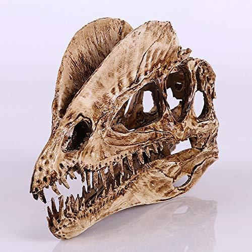 XIEJI Dinosaurier-Schädel-Fossil Doppelkronenknochen-Drachen-Schädel-Harz-Kunsthandwerk-gefälschtes Knochenmodell Bar und Büro Persönlichkeit Dekoration,2pieces